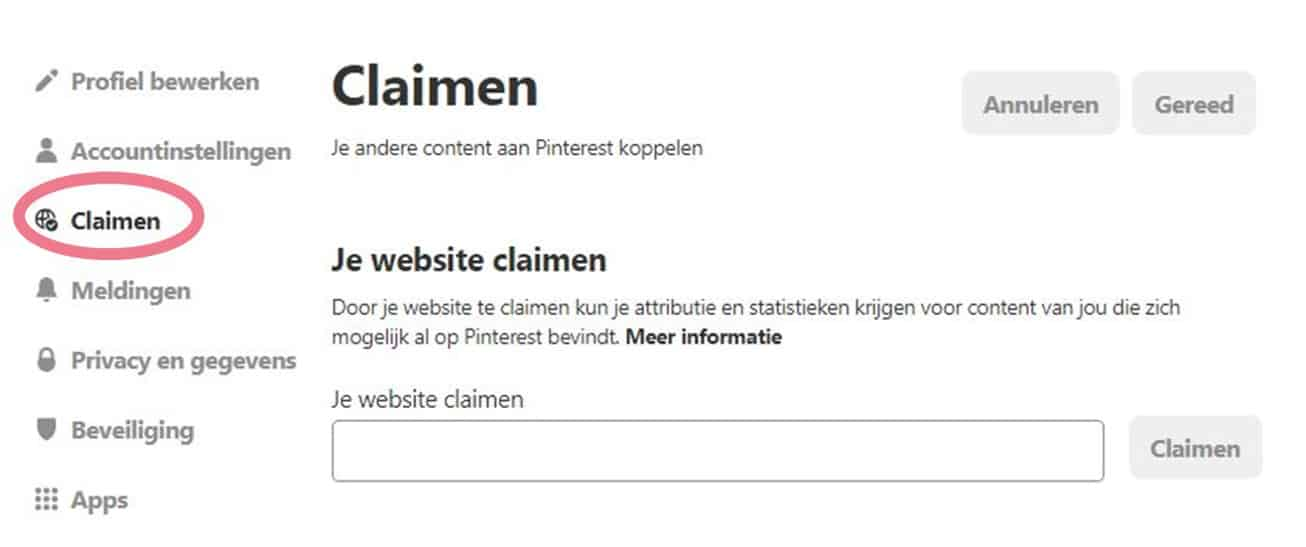 je website claimen op pinterest