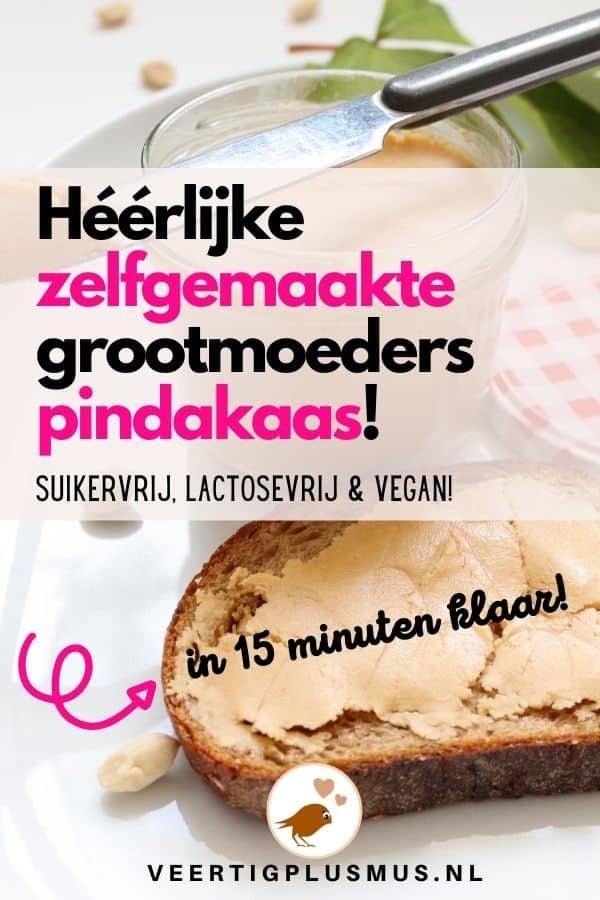 Zelf te maken grootmoeders pindakaas, suikervrij, lactosevrij, vegan